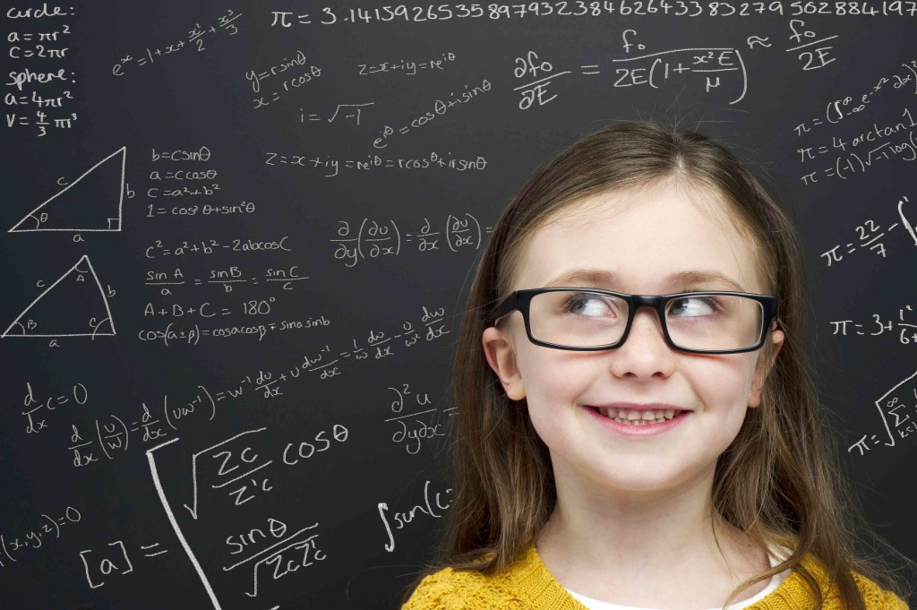 smart girl in front of blackboard